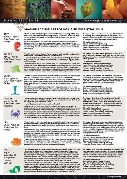 Magnifiscense Astrology and Essential Oils A4 Poster